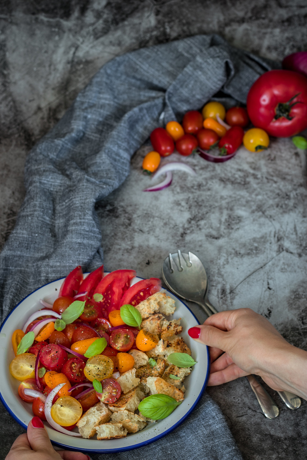 hands of a woman holding panzanella salad in a plate