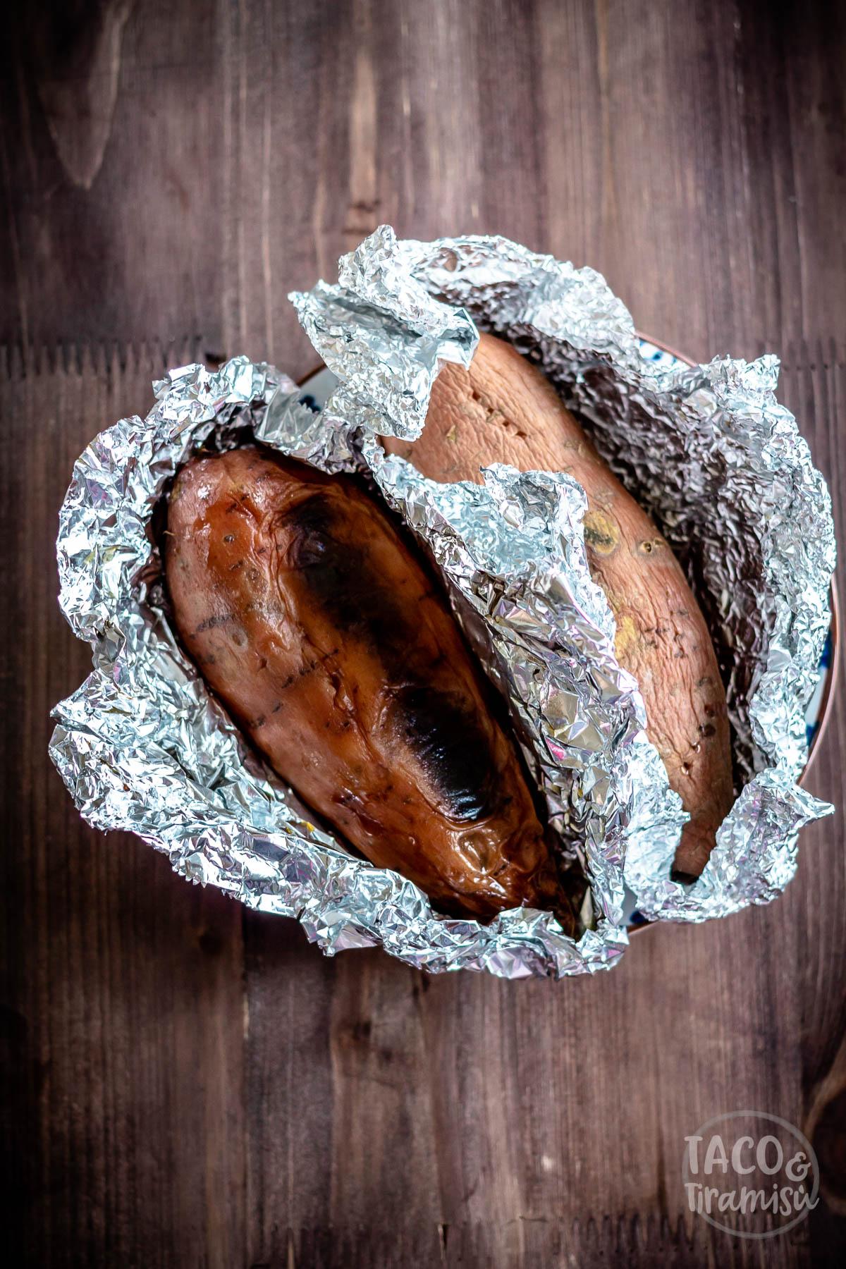 baked sweet potatoes in foil