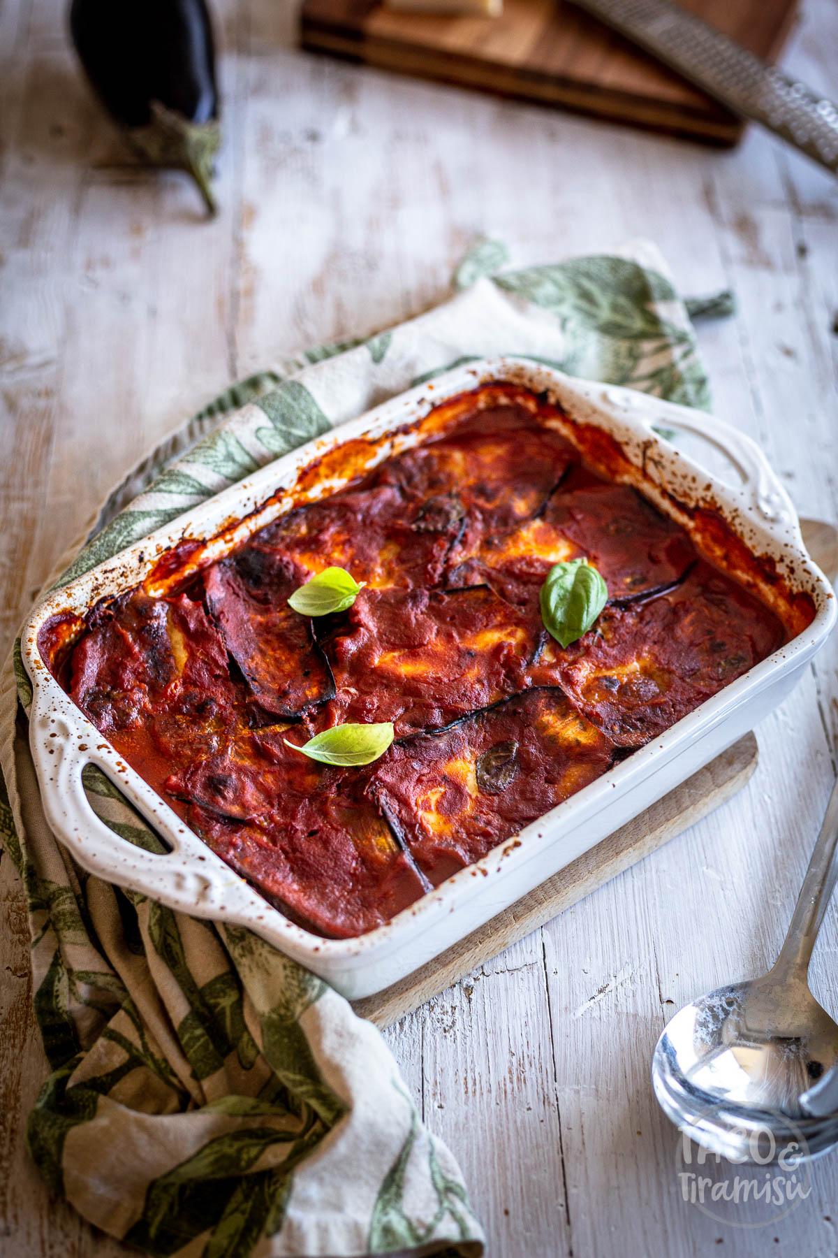 eggplant parmigiana in a pan
