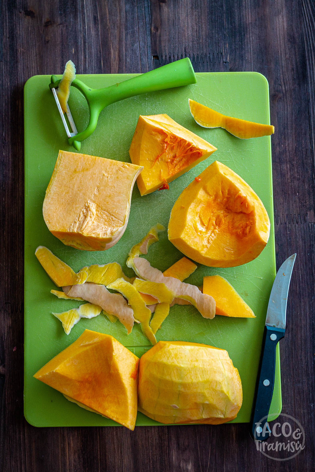 cut squash, ready to be grated