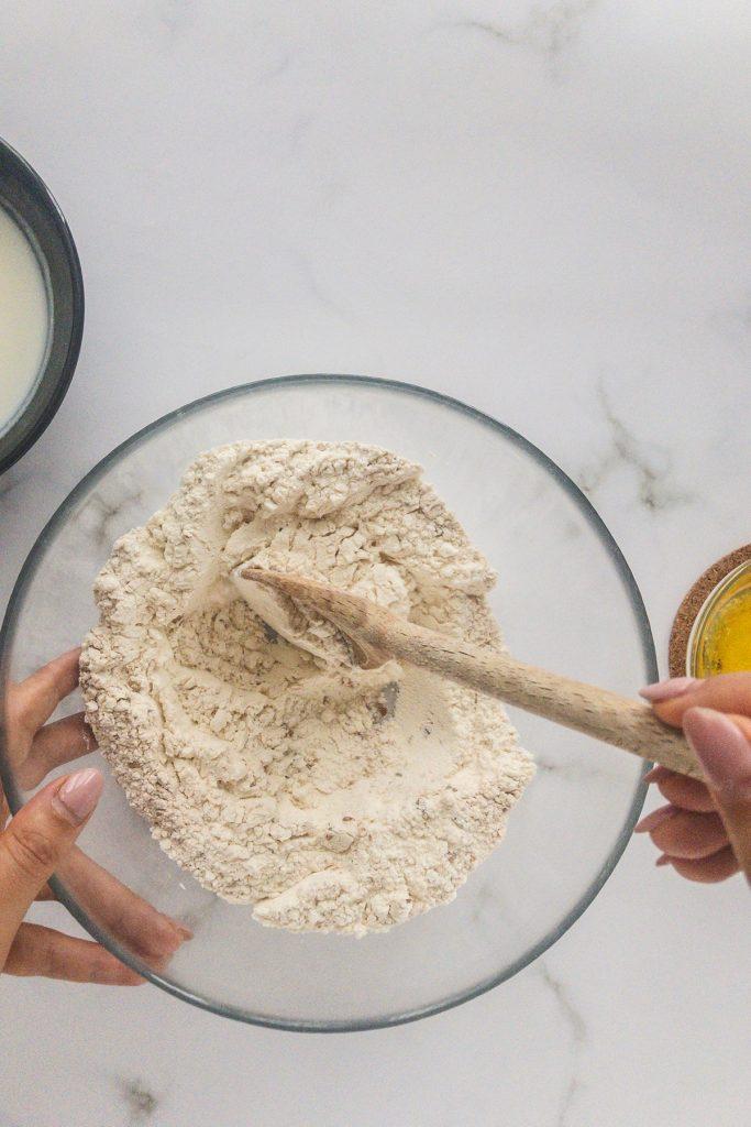mixing the flour and salt