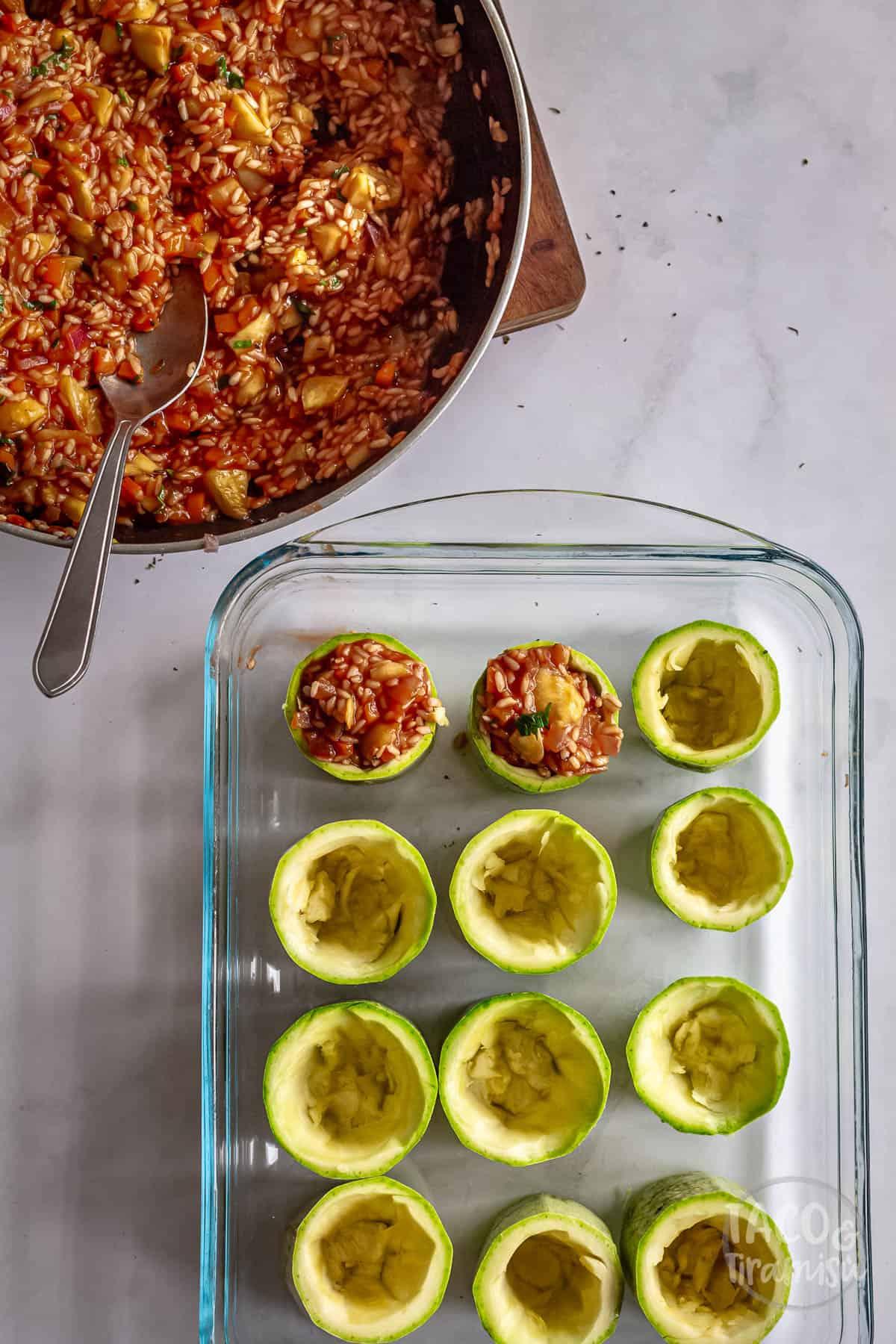 stuffing the zucchini